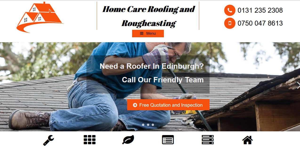 Home Care Roofing Desktop Website